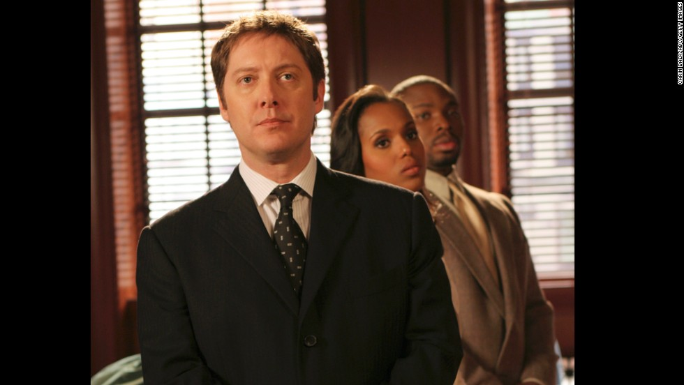 "The actress guest-stars as Chelina Hall in a handful of episodes of ""Boston Legal."" Here she appears in the series with James Spader, foreground, and Page Kennedy."