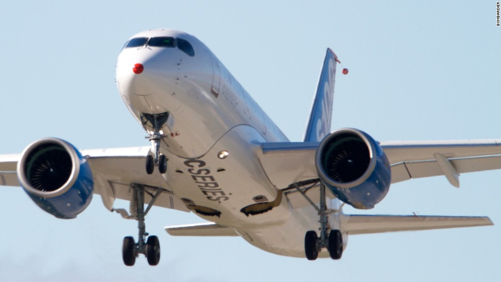 Bombardier hopes to take on bigger rivals Airbus and Boeing with its relatively lightweight, quiet craft.