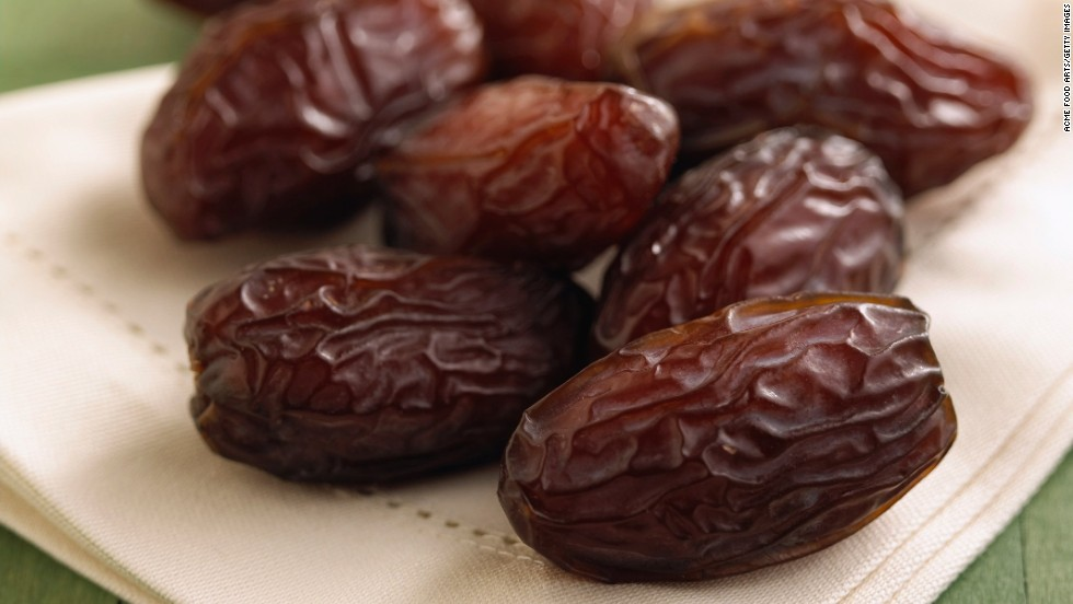 <strong>Dates:</strong> This Middle Eastern favorite is a sweet fruit that is perfect braised in stews, chopped up in desserts or stuffed with cream cheese or almonds. <br /><br />Health benefits include <br />• Low in fat <br />• Good source of fiber <br />• Good source of potassium <br /><br />Harvest season: September to December
