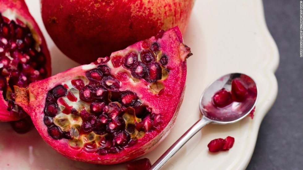 <strong>Pomegranates:</strong> This slightly sour fruit has gotten a lot of press as an antioxidant powerhouse. The juice provides a tangy base for marinades, and the seeds can be tossed into salads to amp up the flavor. <br /><br />Health benefits include<br />• A UCLA study showed pomegranate juice has higher antioxidant levels than red wine <br />• Good source of vitamin C and folate <br /><br />Harvest season: August to December
