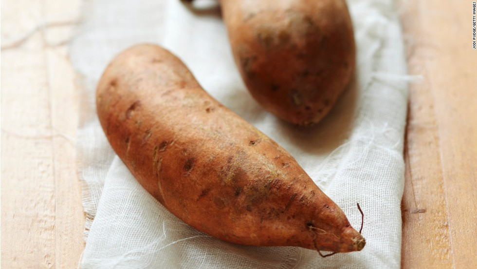 "<strong>Sweet potatoes:</strong> These veggies are for much more than Thanksgiving casseroles. They're more nutritionally dense than their white-potato counterparts. Try roasting them; they'll taste delicious, and you may maintain more vitamins than boiling. <br /><br />Health benefits include<br />• Excellent source of vitamin A <br />• Good source of iron <br />• Anti-inflammatory benefits <br /><br />Harvest season: September to December<br /><br /><a href=""http://www.health.com/health/gallery/0,,20307221,00.html"" target=""_blank"">Health.com: Eat this and burn more fat</a><br />"