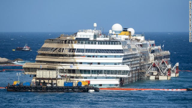 Costa Concordia upright a year later