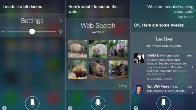 "The updated Siri can adjust iPhone settings, do Bing searches for ""wombats"" and look through Twitter."