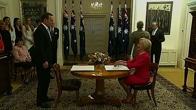New Australian PM Tony Abbott sworn in