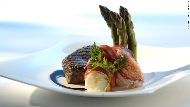First class dining: Why chose lobster over beef when you can have both surf and turf.