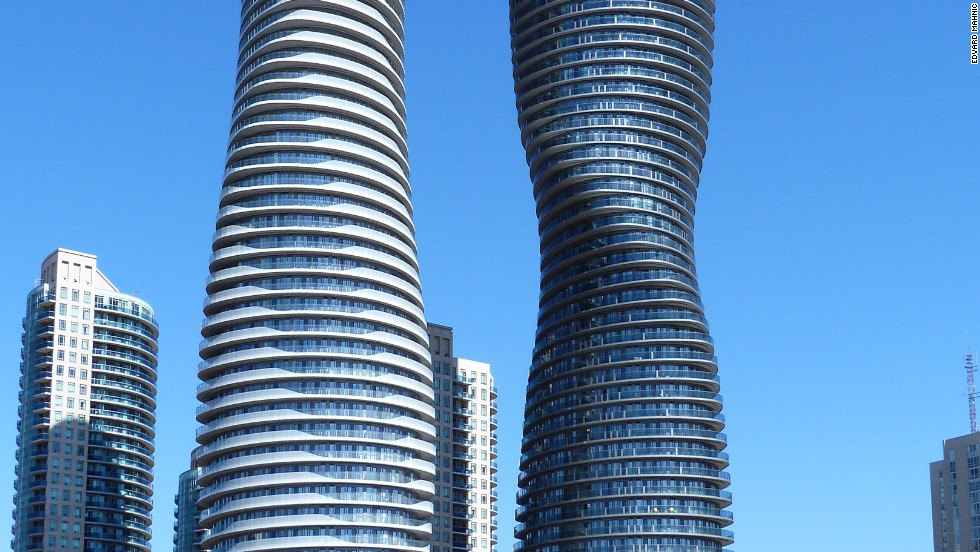 "Absolute World Tower 1 & 2 form part of the Absolute City Centre complex, an inner-city  ensemble consisting of five residential towers.Due to their curved shape, with no floor appearing the same, the two towers were given the nickname ""Marilyn Monroe.""<strong>Architects</strong>: MAD, Ltd.; Burka Architects"