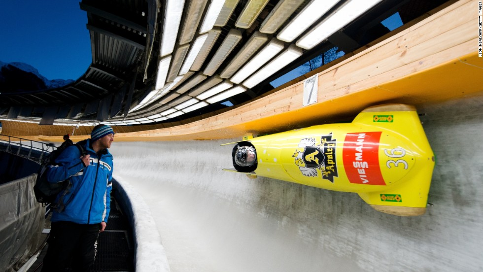 Australia's Heath Spence took part in a Men's Bobsleigh training run at the Sanki Sliding Centre, one of the 2014 Winter Olympics venues which is located at Rzhanaya Polyana, 60 kilometers northeast of Sochi.