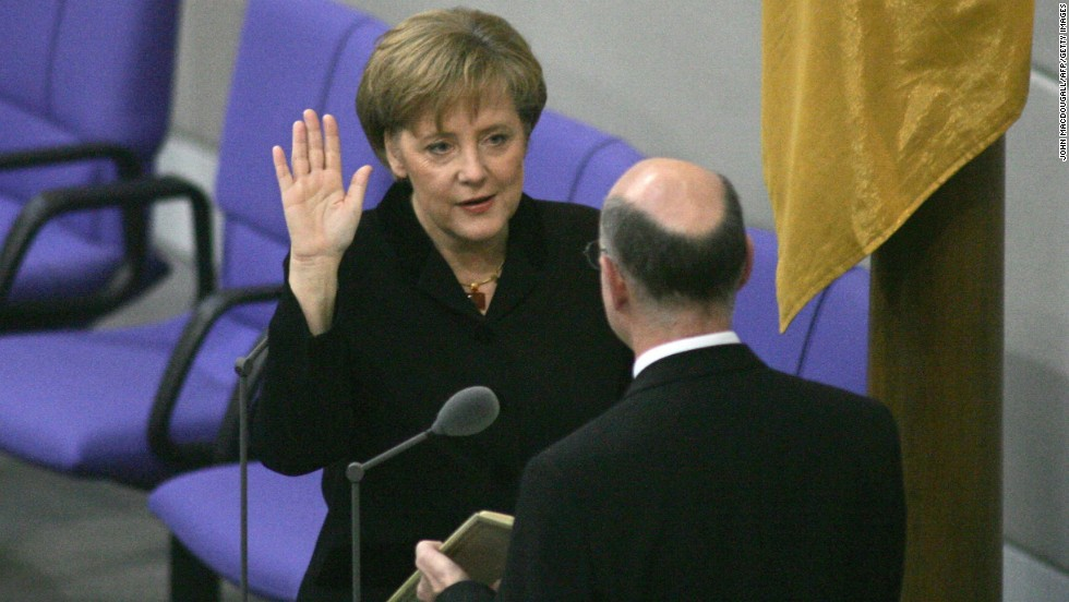November 22, 2005: Merkel is sworn in as Germany's chancellor. She became the first woman, the first East German and the youngest person to lead modern Germany.