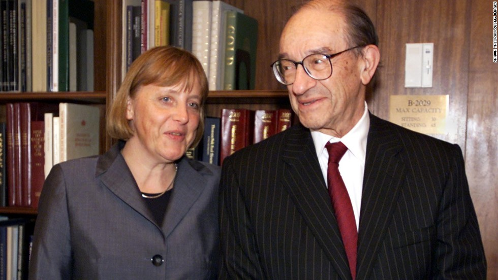 Merkel meets Alan Greenspan, the chairman of the U.S. Federal Reserve as the leader of Germany's opposition in April 2001.