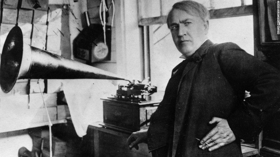 "In 1877 Thomas Edison invented the phonograph, the first device that could reproduce recorded sound. It worked by tracing a stylus over a rotating cylinder. Edison tested it by speaking the phrase, ""Mary had a little lamb,"" into the machine -- perhaps the first words ever recorded."