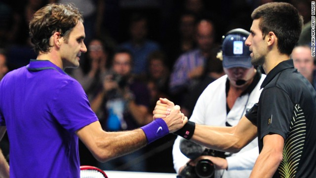 Novak Djokovic, right, beat Roger Federer at the 2012 year-end championships in London.