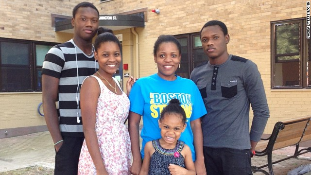 Daniel with her brothers and sister, who came from Haiti to aid in her recovery.