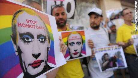 Protesters have used such images of Putin to oppose Russia's anti-gay laws.