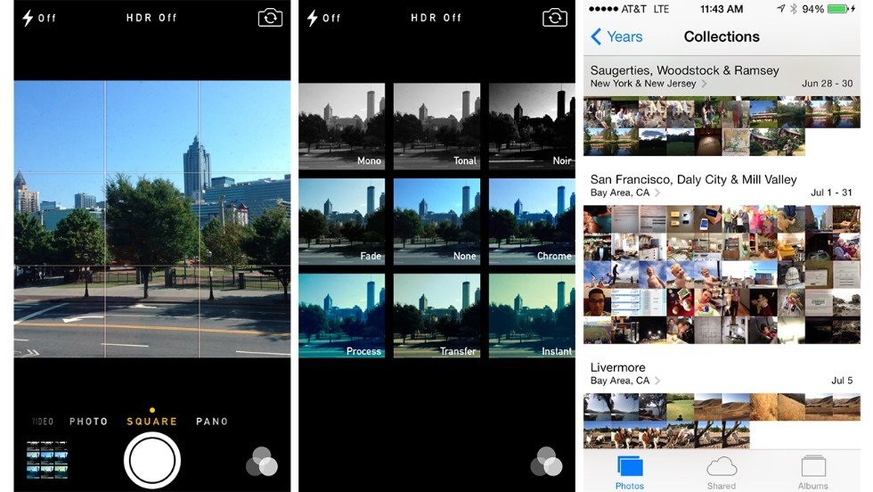 The Camera and Photos apps have new features. There is an option to capture a square image and add filters in the Camera app. Photos can be sorted by year and location.