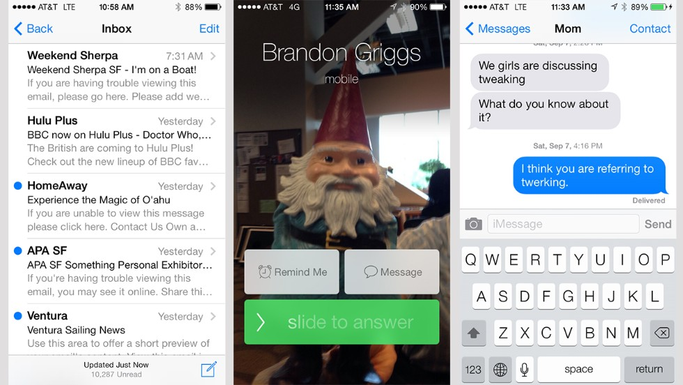 The major communication tools work the same on iOS 7 as before, but with a new look.