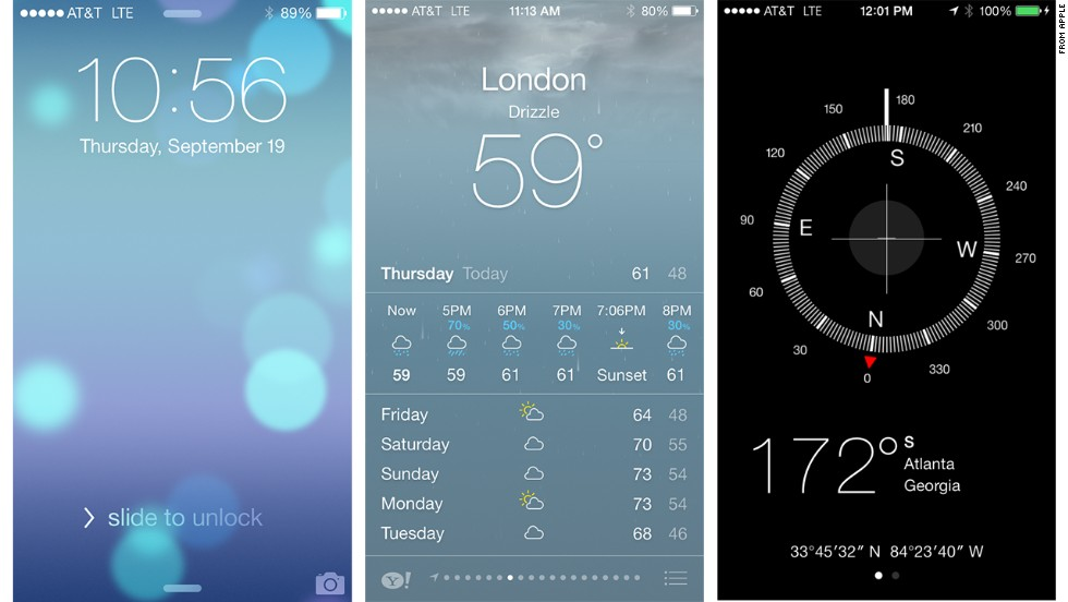 Apple updated the entire look and feel of iOS 7's layout and basic apps with a flatter design, more transparency and animations, and sleek new typefaces.