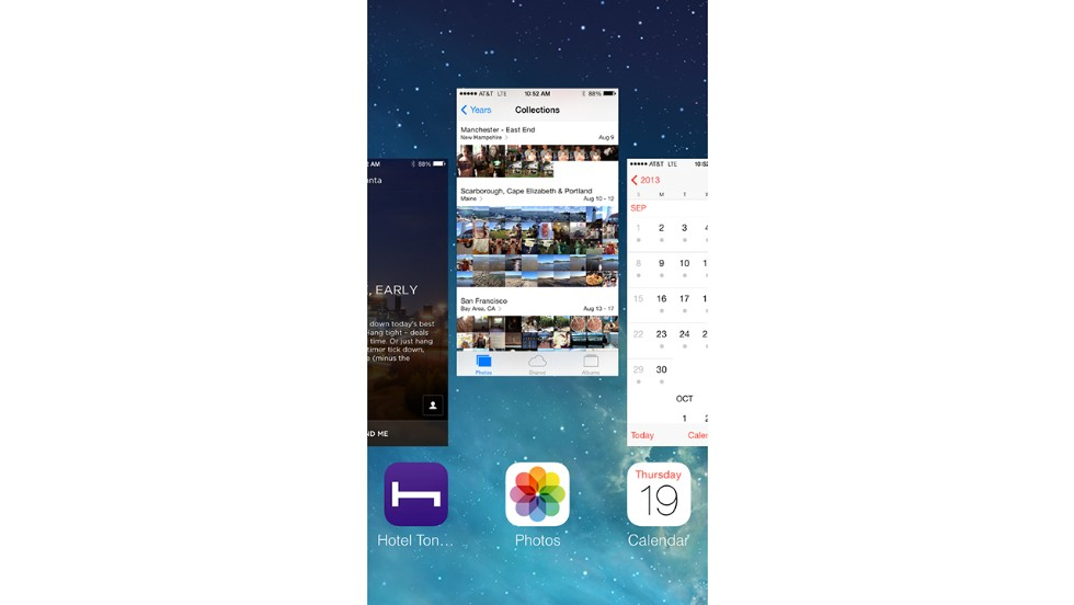 The multitasking shortcut is the same -- you double click the home button -- but the look is all new. A carousel of recent apps shows their latest screens. Swipe up on an app to close it.