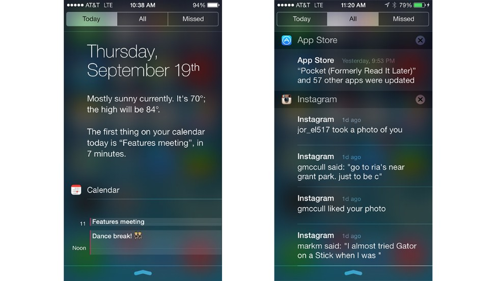 Swiping down from the top of the screen brings up the new Notification Center. It shows your day at a glance, including weather, and a list of all your app notifications.