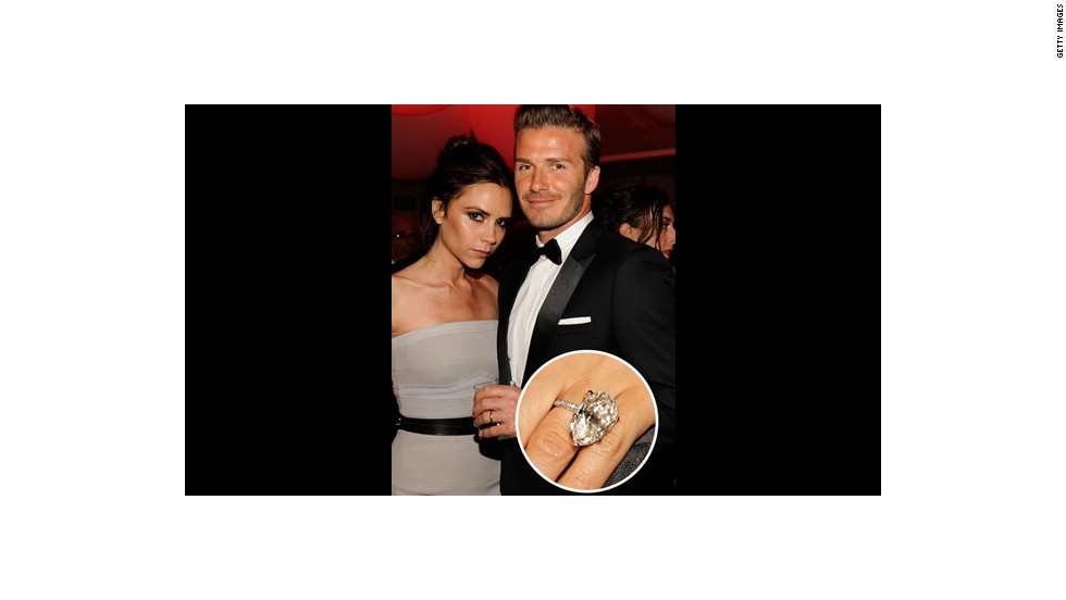 Soccer star David Beckham sealed the deal with wife Victoria Beckham with this massive diamond-encrusted engagement ring. <br />