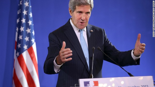 US Secretary of State John Kerry speaks during a press conference after talks with French Foreign Affairs minister and British Foreign Affairs Secretary on the Syria crisis on September 16, 2013 in Paris.