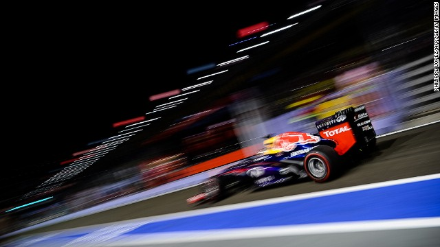 Sebastian Vettel finished on top of the standings after the second practise seesion in Singapore on Friday.