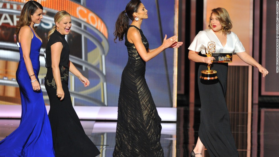 """Outstanding supporting actress in a comedy series: Merritt Wever, right, """"Nurse Jackie"""""""