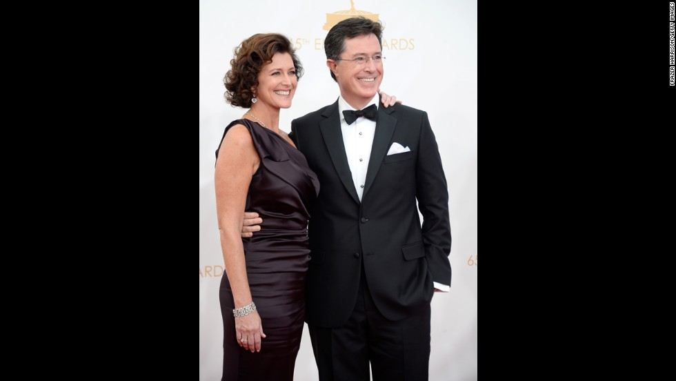 "Stephen Colbert with his wife, Evelyn. ""The Colbert Report"" took home Emmys for outstanding variety series and writing for a variety series."