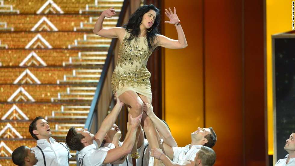 Comedian Sarah Silverman takes part in a dance number during the show.