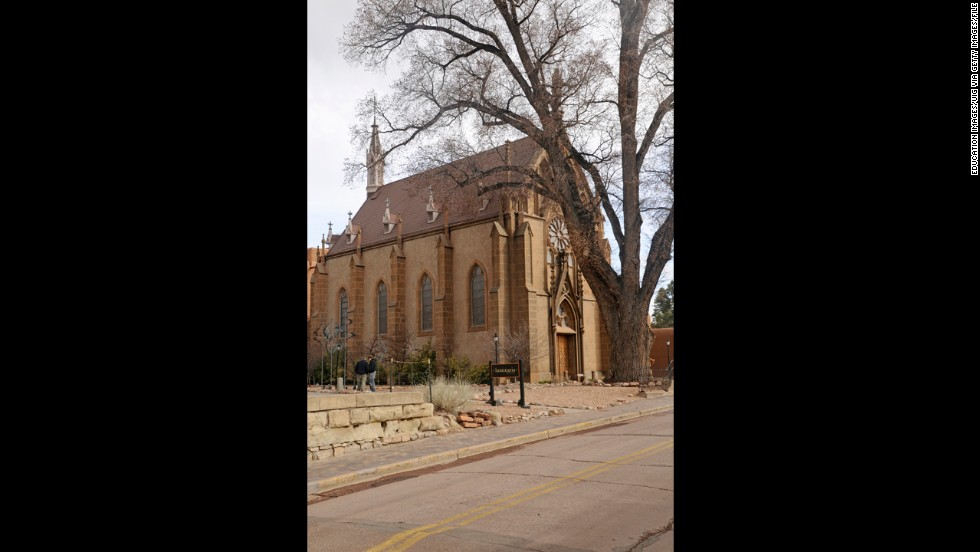 Loretto Chapel in Santa Fe houses a mysterious wooden staircase built by an unidentified man who is said to have shown up at the chapel in 1879 with a donkey and a toolbox.