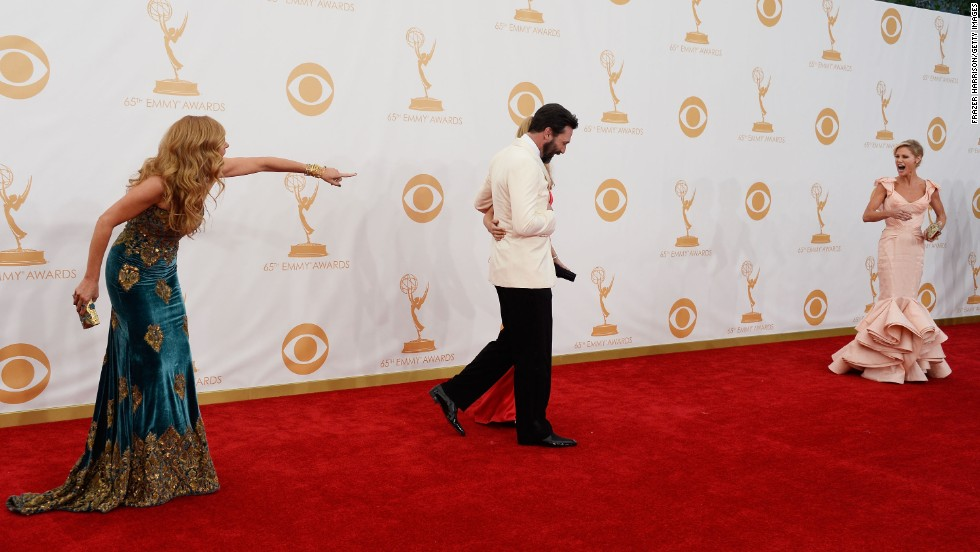 """""""Nashville's"""" Connie Britton, left, shares a red carpet moment with """"Mad Men's"""" Jon Hamm and """"Modern Family's"""" Julie Bowen."""