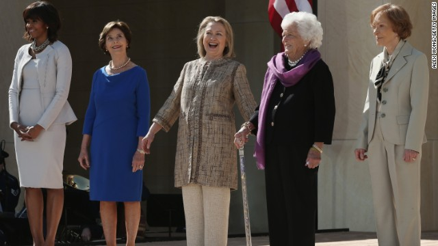 Left to right: First lady Michelle Obama and former first ladies Laura Bush, Hillary Clinton, Barbara Bush and Rosalynn Carter attend the opening ceremony of the George W. Bush Presidential Center in Dallas on April 25.