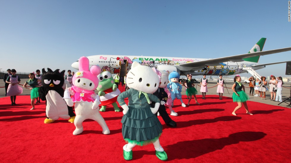 "There are now a total of six Hello Kitty jets. The Taipei-LAX Boeing 777 (pictured) is the first one to showcase not just Kitty but a bunch of fellow Sanrio family members.""The cheerful display of characters of all shapes and sizes, joining hands the entire length of the aircraft, invites new friends from around the world,"" EVA Air said."