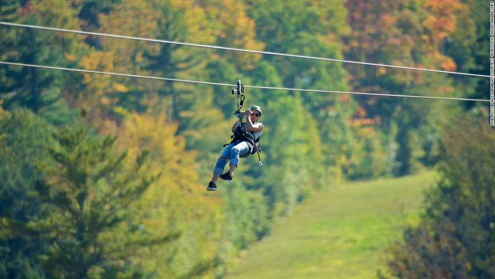 Mix fall views with the thrill of the zipline at Gunstock Mountain Resort in New Hampshire.