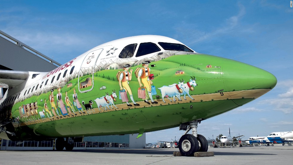 This elaborate Swiss International Airlines livery depicting farmers herding cows through an alpine meadow was unveiled in 2006. Following it in 2010 was a flower power livery, adorning planes on the Zurich-San Francisco route. Flower power? Surely a few decades late.