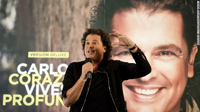 "Colombian musician and singer Carlos Vives speaks during a press conference to promote his new album ""Corazon Profundo"" (Deep Heart ) in Mexico City on May 13, 2013."
