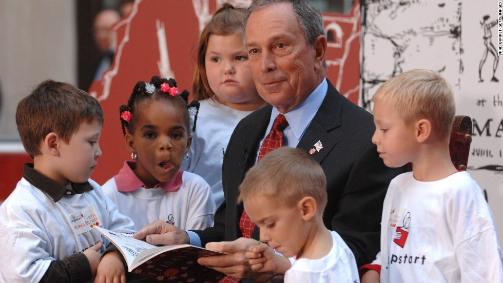 "New York Mayor Michael Bloomberg reads to children during NBC's ""Today Show"" kickoff of Jumpstart's Read for the Record campaign in Rockefeller Plaza in September 2007."