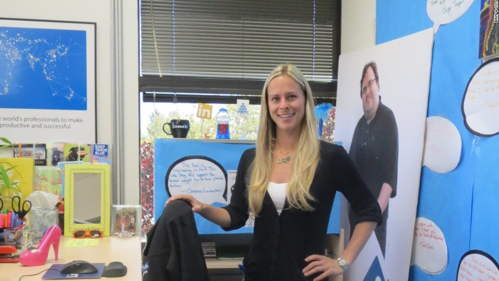 LinkedIn corporate communications senior manager Krista Canfield keeps a life-size photo of LinkedIn founder Reid Hoffman in her desk area.