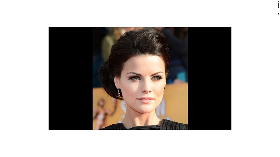 Jaimie Alexander's warm smoky eyes and pale peach lips 'provide an approachable but steamy look when walking down the aisle,' said makeup artist Jeffrey Paul.