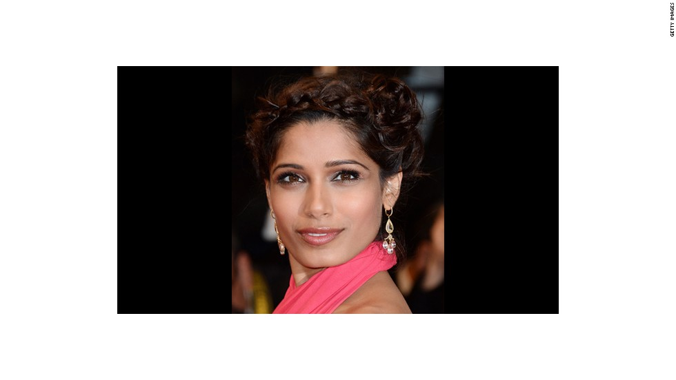Freida Pinto smolders in metallic hues by makeup artist Charlotte Willer.