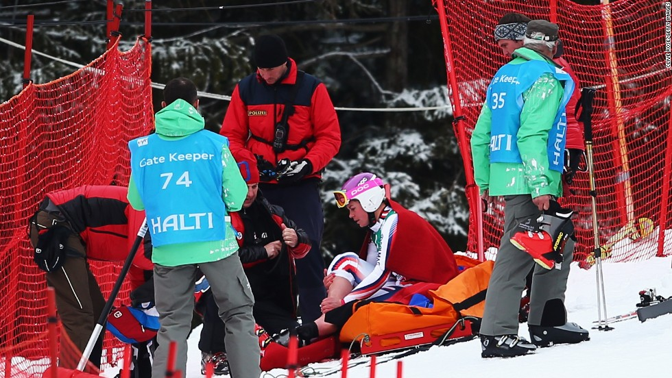 Chemmy Alcott's last accident on the slopes happened the day after Vonn's at Schlamding, Austria. In all, the British skier has now broken her leg on three occasions.