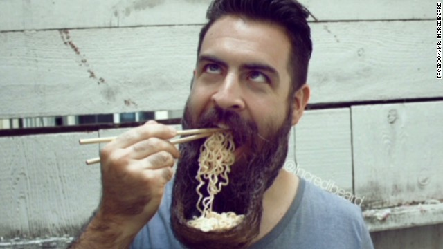 Man's beard doubles as a bowl