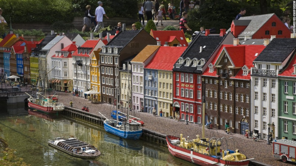 The Danes are brilliant at inventing things. The pedal bin? Danish -- dreamed up by Holger Nielsen for his wife's hairdressing salon. Pick one up in Copenhagen. And Lego. This scene seem familiar? It's Nyhavn again -- as rendered at Legoland Denmark.