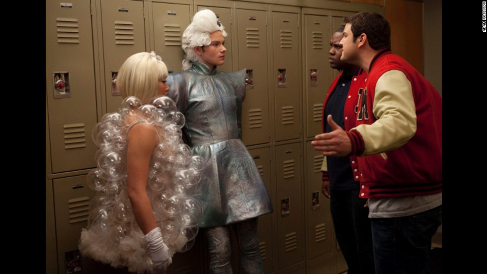 "On ""Glee,"" Tina and Kurt (Jenna Ushkowitz and Chris Colfer) get guff from high school toughs Karofsky and Azimio (Max Adler and James Earl III)."