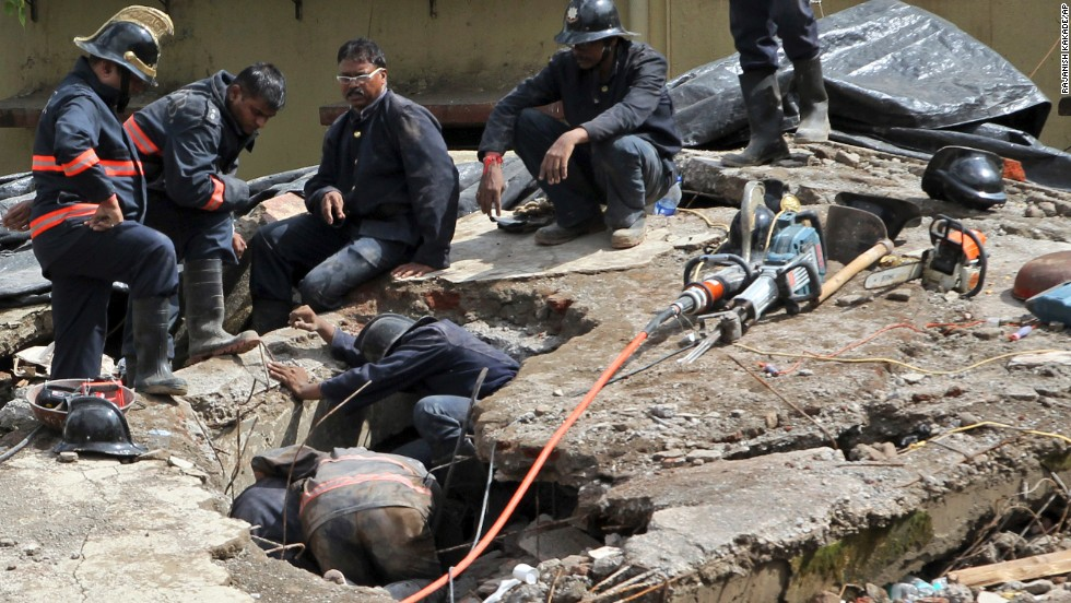 Rescuers search for survivors on September 28.