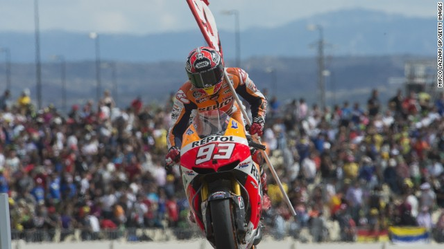 Marc Marquez coasted home at the Aragon Grand Prix in Spain after overtaking Jorge Lorenzo.