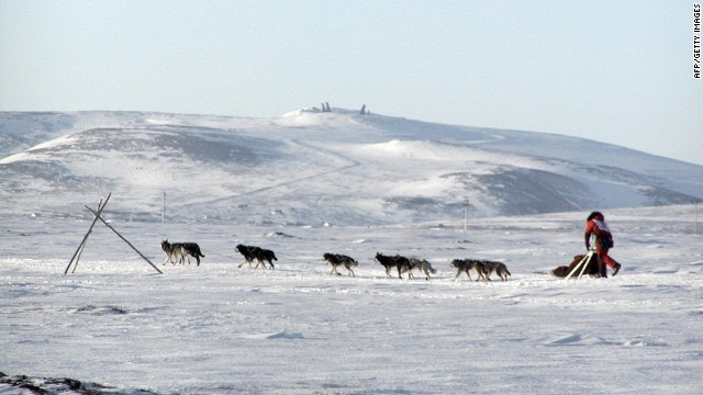 Iditarod champion Lance Mackey is mushing his way to victory toward Nome here in 2007. March 13, 2007.