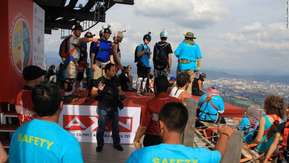 From 1981 to the present there have been more than 200 fatalities related to base jumping. In order to jump at the KL Tower, jumpers need to have two years of experience and more than 120 jumps under their belt.
