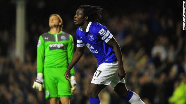 Romelu Lukaku celebrates as Newcastle keeper Tim Krul reacts after the striker pounces for a second goal for Everton