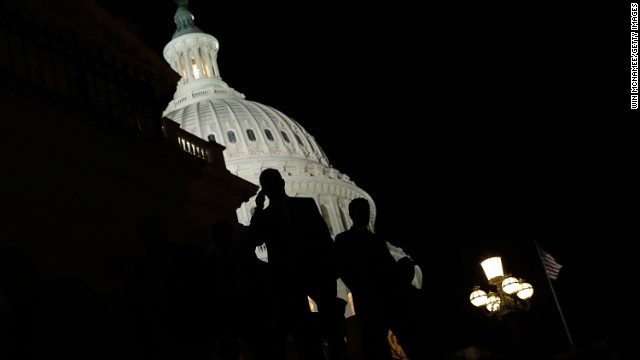 WASHINGTON, DC - SEPTEMBER 30: Members of the House of Representatives leave the U.S. Capitol after passing a continuing resolution to fund the U.S. government that would also delay enrollment in the Affordable Care Act for one year September 30, 2013 in Washington, DC. Senate Majority Leader Harry Reid has said the U.S. Senate will not pass legislation including such language. A government shutdown will occur at midnight this evening if a compromise solution is not reached. (Photo by Win McNamee/Getty Images)