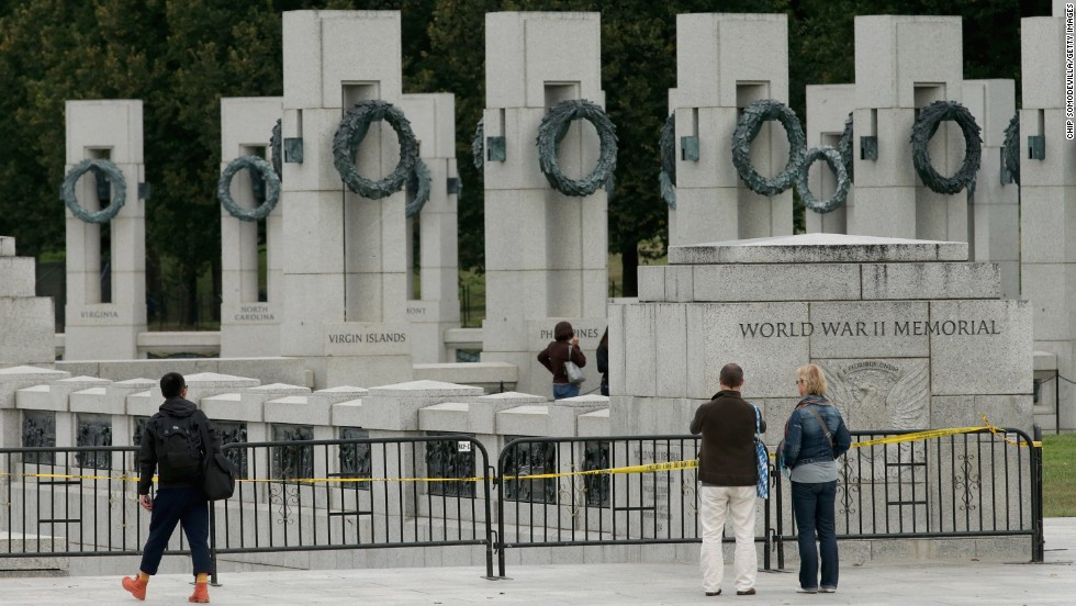 Fencing around the World War II Memorial prevents people from entering the monument on the National Mall in Washington on October 1.